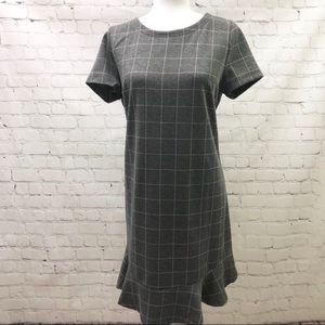 Loft (Ann Taylor) Gray Ruffle Short Sleeve Dress